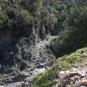 Ancient Lycian stone steps leading down to the river.