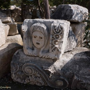 part of a series of columns surronding the stage at the antique theater in Myra
