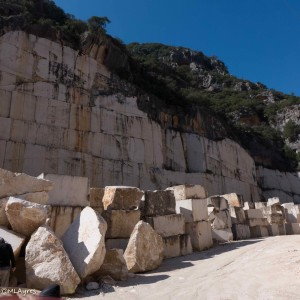 Marble blocks awaiting transport.